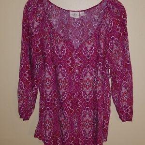 St John's bay 3/4 sleeve pink blouse